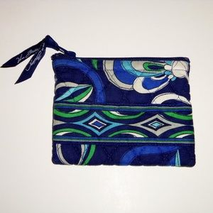 Vera Bradley blue green floral change wallet zip
